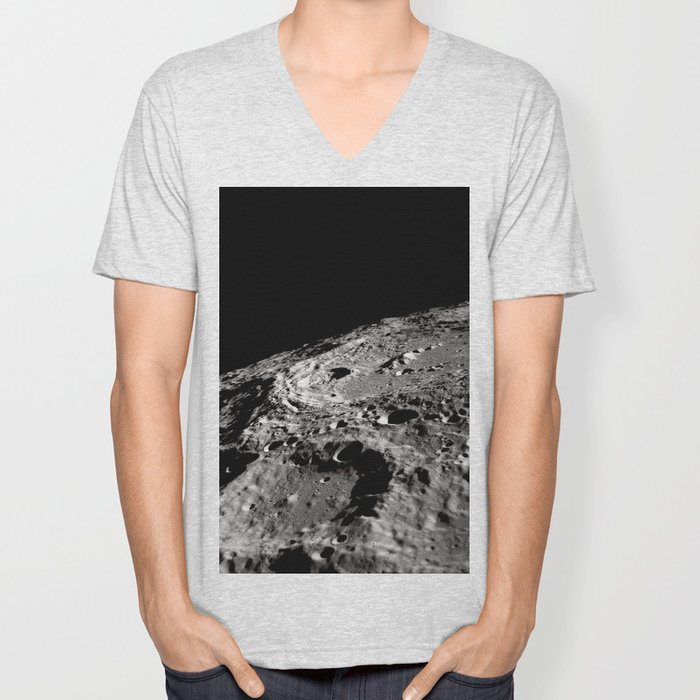 Terraced Wall Crater on the Lunar Limb Unisex V-Neck
