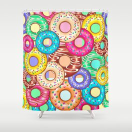 Donuts Punchy Pastel flavours Pattern Shower Curtain