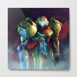 Double Art Metroid | Samus Aran Metal Print