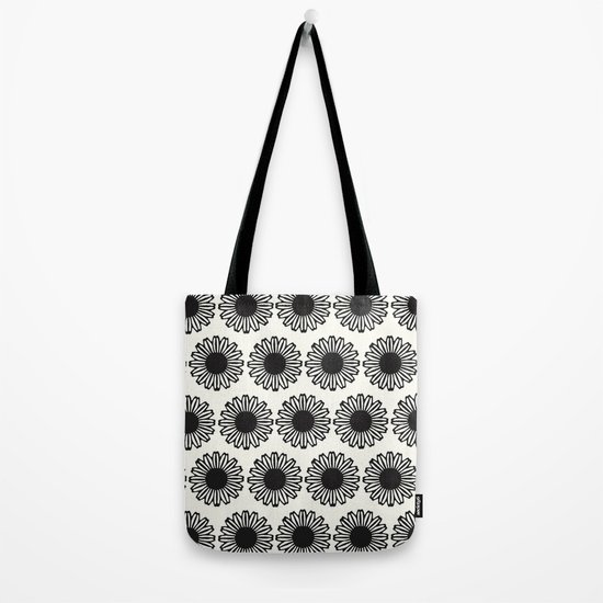 vintage flowers black Tote Bag