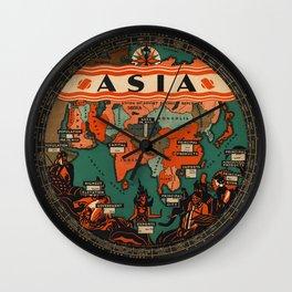 Art Deco Map of Asia Wall Clock