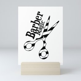Barber Magic - black and white Mini Art Print
