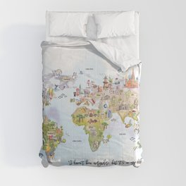 World Map Watercolor Comforters