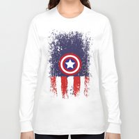 "steve rogers Long Sleeve T-shirts featuring Captain ""Steve Rogers"" America by Some_Designs"
