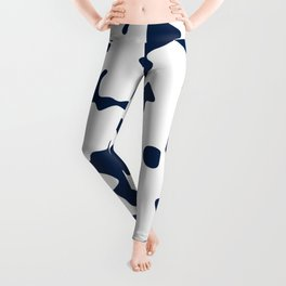Large Spots - White and Oxford Blue Leggings