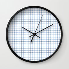 Blue on White Grid Wall Clock