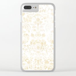 Vintage Floral Pattern White Wash Clear iPhone Case