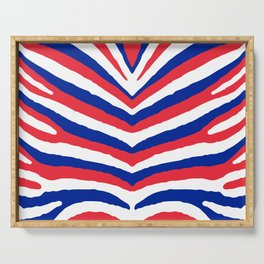 Red White and Blue French Flag Zebra Animal Stripes Serving Tray