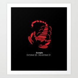 Scorpio zodiac sign with dates Art Print