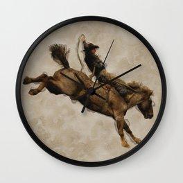 Western-style Bucking Bronco Cowboy Wall Clock