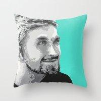 ryan gosling Throw Pillows featuring Ryan Gosling by megan matthews