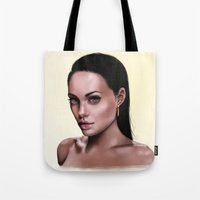 angelina jolie Tote Bags featuring Angelina Jolie by Z ∙▲RT