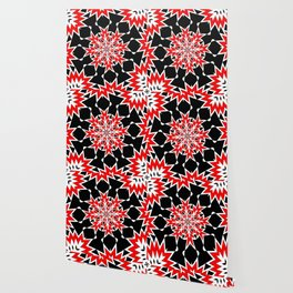 Bizarre Red Black and White Pattern 2 Wallpaper