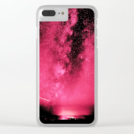 Desert Night Sky Magenta Pink Clear iPhone Case