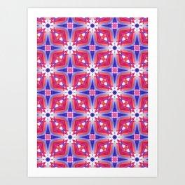 Watercolor Geometry Mod Pink Art Print