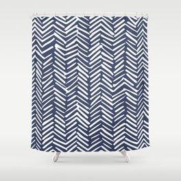 Boho Herringbone Pattern, Navy Blue and White Shower Curtain