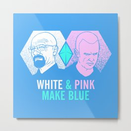 WHITE & PINK MAKE BLUE Metal Print