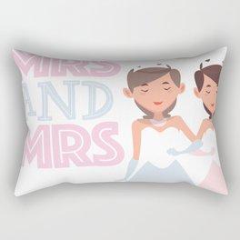 Mrs and Mrs lesbian gay wedding Rectangular Pillow