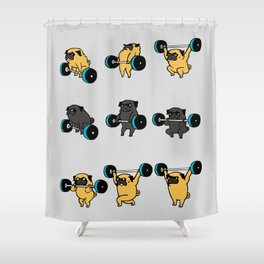 OLYMPIC LIFTING PUGS Shower Curtain