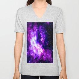 Purple Galaxy : Celestial Fireworks Unisex V-Neck