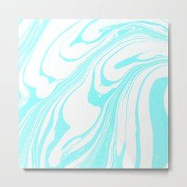 Blue Ink Swirl Marble Metal Print
