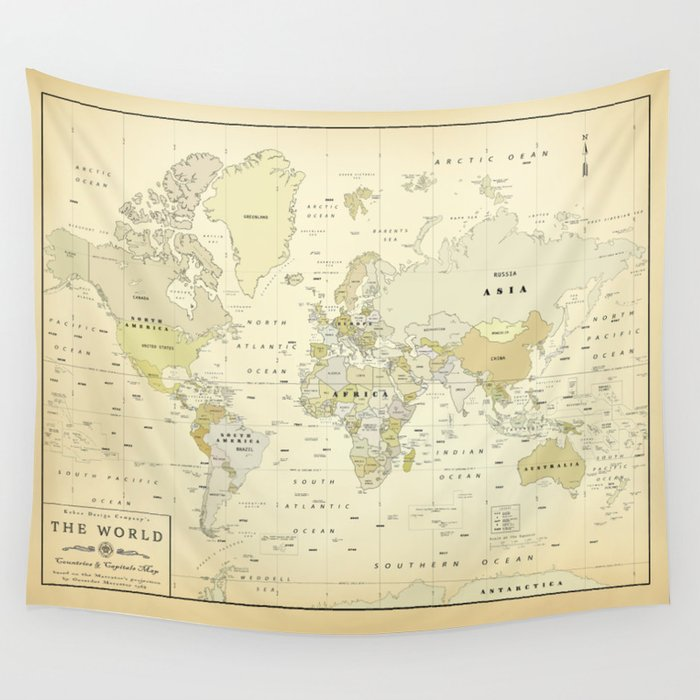 graphic regarding Vintage World Map Printable named Traditional Environment Map Print Wall Tapestry