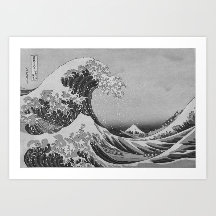 Black white japanese great wave off kanagawa by hokusai art print
