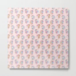 Cute Happy Little Pony with hearts Metal Print