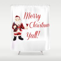 Merry Christmas Y'all Santa Shower Curtain