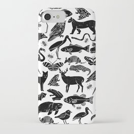 Linocut animals nature inspired printmaking black and white pattern nursery kids decor iPhone Case