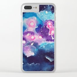 Tiny Astronaut and the Blue Nebula Clear iPhone Case