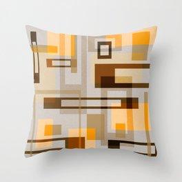 Mid Century Modern Blocks on Sand Throw Pillow