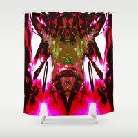 satan Shower Curtains featuring Satan-Morph Fury by K. J. Wagner