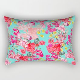 Bright Turquoise/Teal  Antique inspired Floral Print With Hot pink, baby Pink, Coral and Yellow Rectangular Pillow