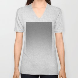 Gray to White Horizontal Linear Gradient Unisex V-Neck