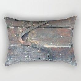 Antique door latch wooden door Rome Italy Rectangular Pillow