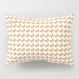 Elegant little orange and yellow butterflies pattern on a white background Pillow Sham