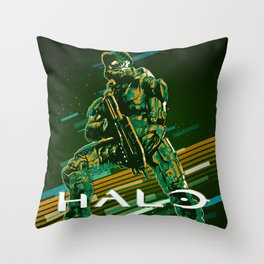 Halo retro art Throw Pillow