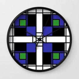 Neoplasticism symmetrical pattern in sapphire blue Wall Clock