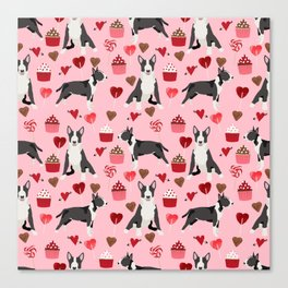 Bull Terrier valentines day love cupcakes hears dog breed pet friendly gifts Canvas Print