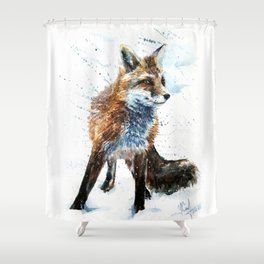 Fox watercolor Shower Curtain