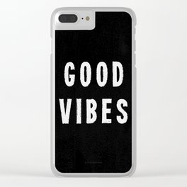 Grungy Distressed Ink Good Vibes | White on Black Clear iPhone Case