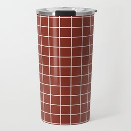 Burnt umber - brown color - White Lines Grid Pattern Travel Mug