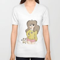 bee and puppycat V-neck T-shirts featuring Bee and Puppycat by Lyndie Witt