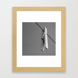 Wood Clothes Pin B&W Framed Art Print