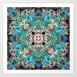 Symmetrical Turquoise Abstract Art Print