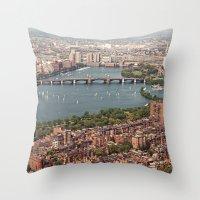 boston Throw Pillows featuring boston by shannonblue
