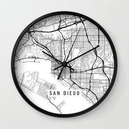 San Diego Map, California USA - Black & White Portrait Wall Clock
