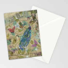 Vintage Ivory Green Blue Pink Peacock Collage Stationery Cards