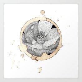 Coffee Stain Magnolia Flower-Louisiana Series Art Print